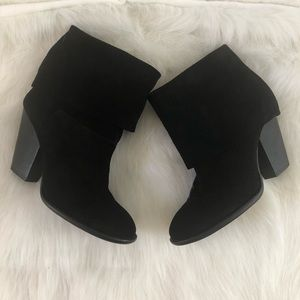 Vince Camuto black suede gold over ankle boots